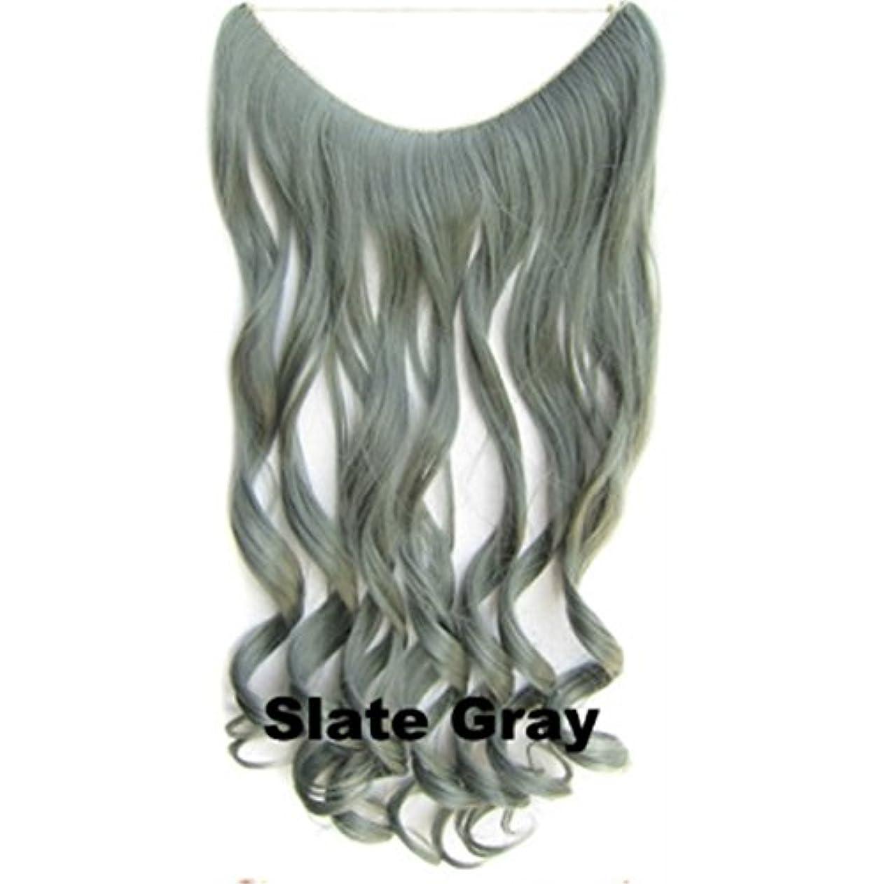 チャーミング甥あえぎKoloeplf (カーキ、ダークグレー、スレートグレー、ディープパープル、インディアンレッド)60cm 150g長いカーリーヘアクリップ、エクステンションワンピース絹シルクウィッグ (Color : Slate gray)