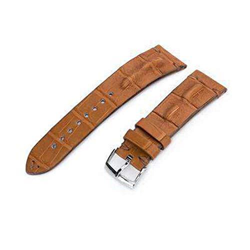 Cinturino per orologio in alligatore Strapcode 20mm o 22mm MiLTAT Cinturino per orologio da sella in alligatore corno fatto a mano italiano