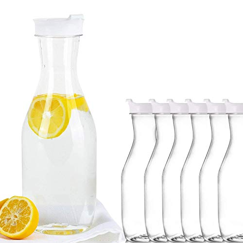 Party Bargains Clear Plastic Pitcher   Premium Quality & Heavy Duty Water Containers   Excellent for Iced Tea, Powdered Juice, Cold Brew, Mimosa Bar, More   50 Oz. (6)