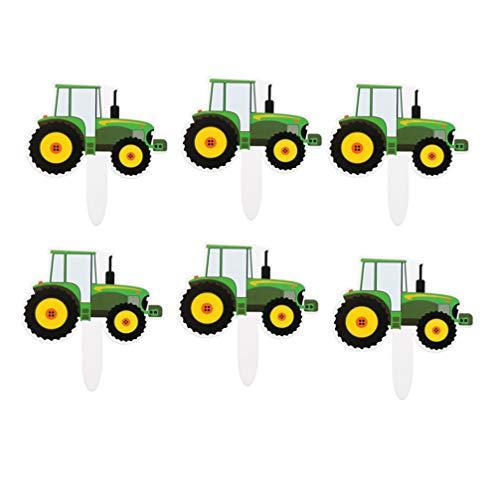 Amosfun geburtstagstorte Topper grün Traktor Kuchen Picks Partei liefert für Kinder Geburtstag dekor Party 42 stücke