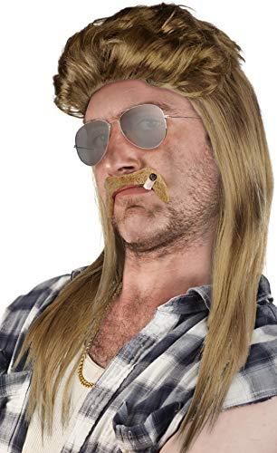 Set aus: Vokuila Perücke + Bart + Goldkette + Pilotenbrille Silber - Prollperücke Vokuhilaperücke Proll Pimp Blond Brünette Grau Schwarz 80er 90er Jahre (Blond + Bart + Goldkette + Pilotenbrille)