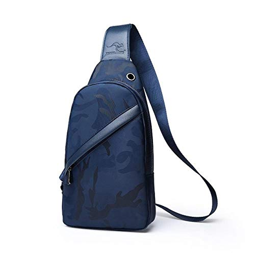 MWOBEP Herren Umhängetasche USB Charging Handtasche Outdoor Sports Chest Reisetasche Cross Shoulder Belt Running Sports Chest Canvas, Blau