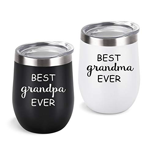 Cpskup Best Ever Grandma and Grandpa Stainless Steel Insulated Wine Tumbler with Lid, Grandparents Christmas Gifts Ideas for Grandma and Grandpa from Grandkids Grandchildren(12 oz, Black and White)