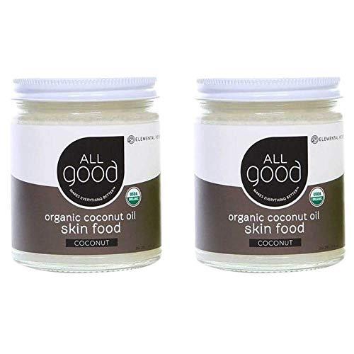 All Good Organic Coconut Oil Skin Food - Natural Moisturizing Skin Care & Massage Oil - Non GMO - Vegan (2-Pack) (Coconut)
