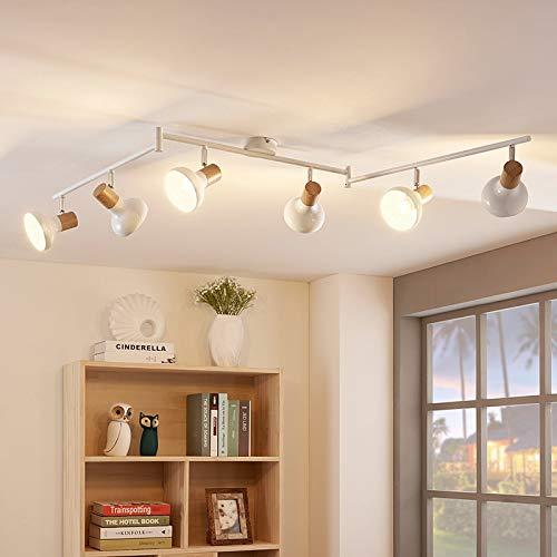 Lindby Strahler 'Fridolin' dimmbar (Modern) in Weiß aus Metall u.a. für Küche (6 flammig, E14, A++) - Deckenlampe, Deckenleuchte, Lampe, Spot, Küchenleuchte