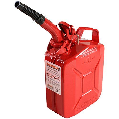 Stahlblechkanister rot 5 Liter + Auslaufrohr flexibel Benzinkanister Kanister