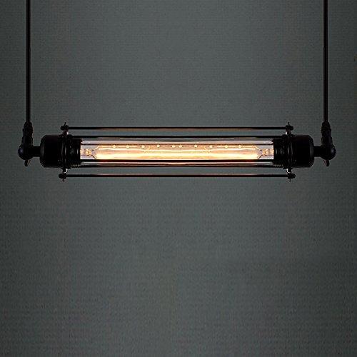 YANQING Lámpara de techo de larga duración, estilo vintage, color negro