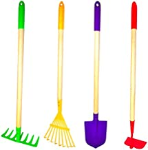 G & F Products JustForKids Kids Garden Tool Set Toy, Rake, Spade, Hoe and Leaf Rake, reduced size , made of sturdy steel heads and real wood handle, 4-Piece, Multicolored, 7 year old +, Model Number: 10018