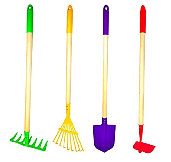 G & F JustForKids Kids Garden Tool Set Toy Rake Spade Hoe and Leaf Rake reduced size  made of sturdy steel heads and real wood handle 4-Piece Multicolored 5yr+