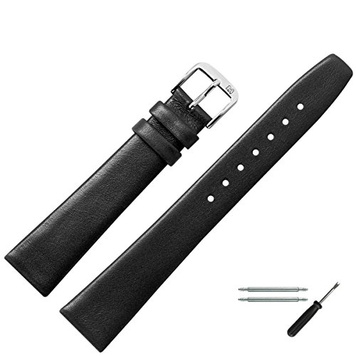 MARBURGER Uhrenarmband 12mm Leder Schwarz - Werkzeug Montage Set 7101210000120