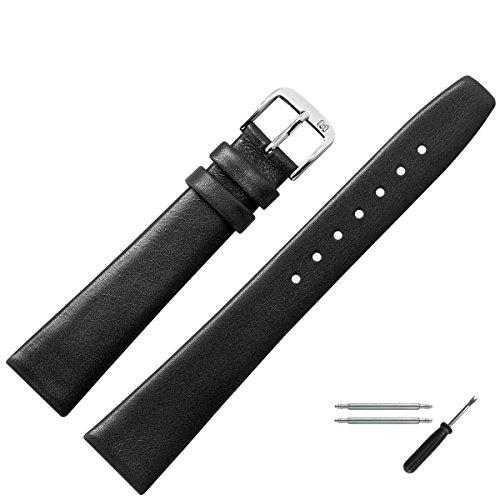 MARBURGER Uhrenarmband 14mm Leder Schwarz - Werkzeug Montage Set 7101410000120