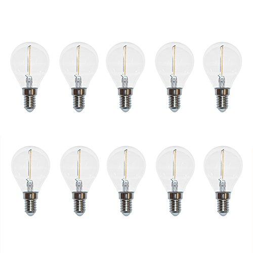 10 x filamento LED a goccia, 1 W, quasi 15 W, E14, trasparente, bianco caldo, 2700 K, 100 lm, 360°
