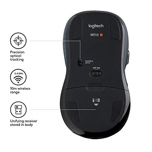 Logitech M510 Kabellose Maus, 2.4 GHz Verbindung via Unifying USB-Empfänger, 1000 DPI Laser-Sensor, 24-Monate Akkulaufzeit, 7 Tasten, PC/Mac – Schwarz, Englische Verpackung - 5