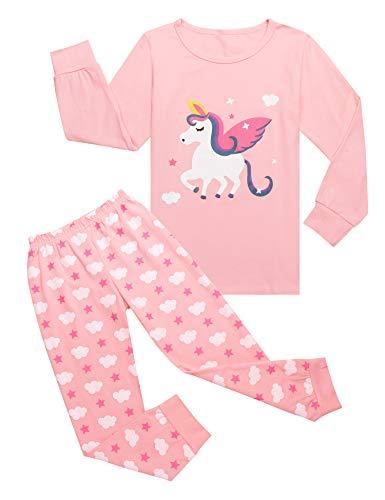Bricnat Mädchen Schlafanzug Einhorn Nachtwäsche Baumwolle Kinder Herbst und Winter Pyjama Set Langarm Pyjama Zweiteiliger Schlafanzug 140 Rosa