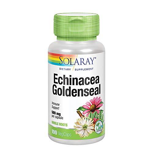 Solaray Echinacea Root & Goldenseal Root 500mg | Healthy Immune & Respiratory System Support | Non-GMO, Vegan & Lab Verified | 100 VegCaps