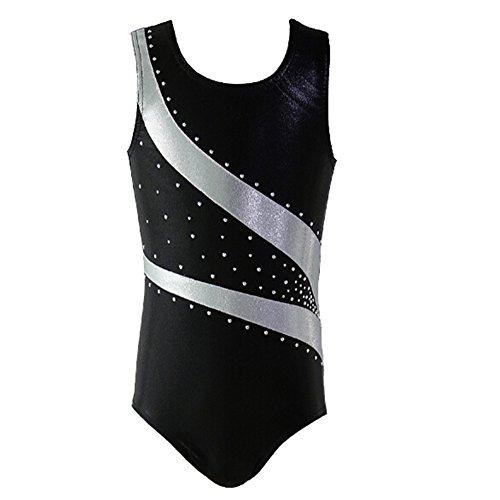 Girl Shiny Stripes Metallic Athletic Ballet Dance Tank Gymnastics Leotard Outfit White Bars Black Size 10