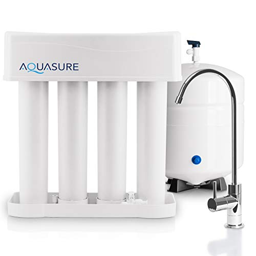 Aquasure AS-PR75A Premier Reverse Osmosis Water Filtration System - 75 GPD High Contaminants TDS Rejection Membrane with Quick Change Water Filter and Chrome Colored Finished Faucet