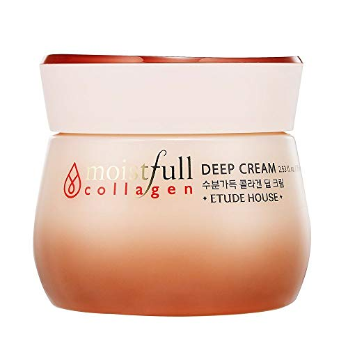 ETUDE HOUSE Moistfull Collagen Deep Cream 2.5 fl.oz. 75ml (old version) - Long Lasting Strong Moist Facial Cream with Super Collagen Water, Makes Skin Healthy and Moisturized
