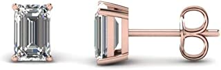 3mm-9mm Emerald Cut Solitaire Stud Earrings With Clear D/VVS1 Diamond In 14K Rose Gold Plated 925 Sterling Silver