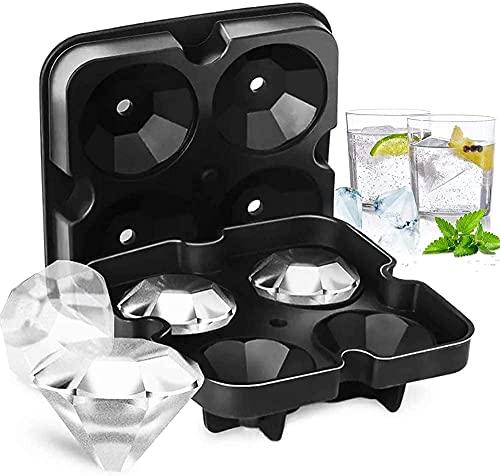 Vassoio del cubo 3D, vassoio nero del congelatore delle muffe del diamante del cubo di ghiaccio del silicone