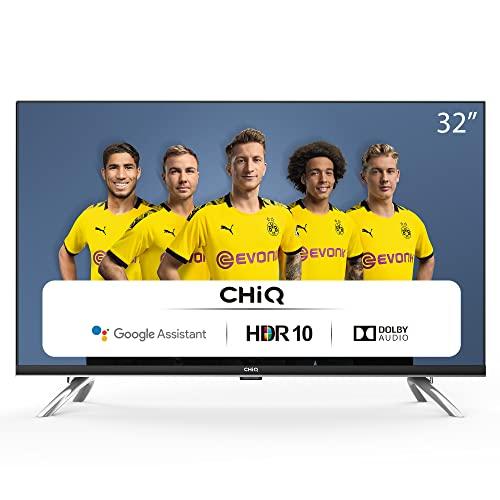 CHiQ 32 Zoll (80 cm), Android 9.0, Smart TV, HD, WiFi, Bluetooth, Google Assistant, Netflix, Prime Video, HDMI, USB, Schwarz/Silber.