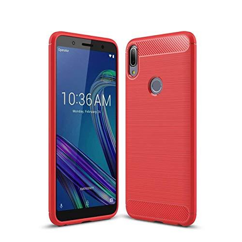 """Capa Capinha Anti Impacto Para Asus Zenfone Max Pro M1 Zb602kl Tela 6.0"""" Case Desenho Fibra De Carbono - Danet (Vermelho)"""