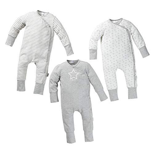 Fred's Baby Body Schlafanzug Set, 3er Pack mit Geschenkbox – Set aus 3 Langarm Strampler in Geschenkverpackung – GOTS Bio Baumwolle – weiß/grau mit Muster aus Sternen oder Streifen (86/92, 1-2 Jahre)