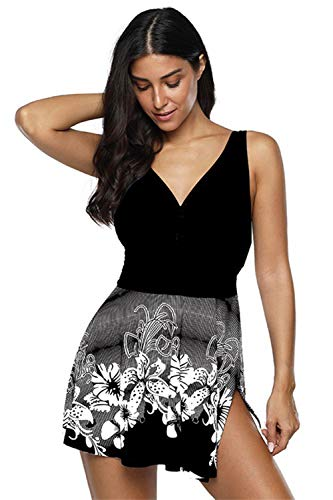 Women's One Piece Swimsuit Deep V Neck Swimdress Asymmetrical Split Hem Bathing Suit Elegant Beachwear (Black M)