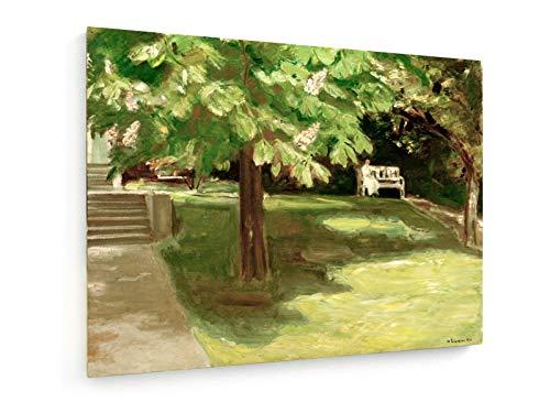 Max Liebermann - Gartenbank unter dem Kastanienbaum - Blühende Kastanien - 100x75 cm - Leinwandbild auf Keilrahmen - Wand-Bild - Kunst, Gemälde, Foto, Bild auf Leinwand - Alte Meister/Museum