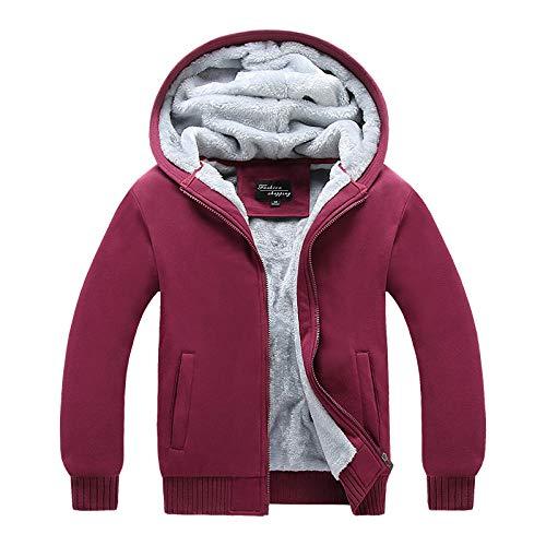 YJWSPD Chaquetas Cuello Alto y Ligero Chaqueta de algodón Abrigo Outwear Otoño e invierno slim plus velvet plus size engrosamiento rojo vino _L