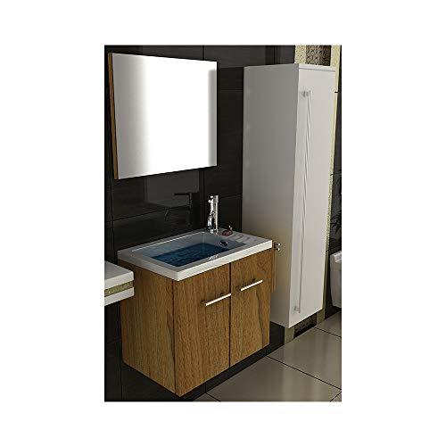 Badmöbel Set mit Waschbecken aus Mineralguss, Unterschrank und Spiegel mit Softclose-Funktion/Farbe: Walnuss / 50 cm Breite