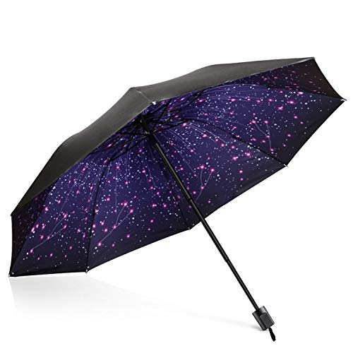 DORRISO Damen Taschenschirme Regenschirm Mini Sonnenschirm Leicht Kompakt Regenschutz Dauerhafte rutschfest Griff Reisen Taschenschirm Star