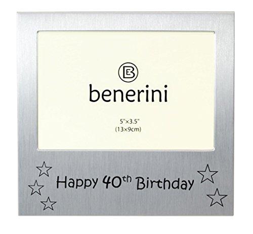 benerini ' Happy 40th Birthday ' - Photo Picture Frame Gift - 5 x 3.5