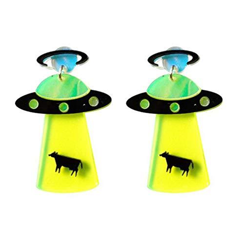 Holibanna Brincos UFO em formato criativo de acrílico exagerado brincos pendentes para mulheres meninas 1 par