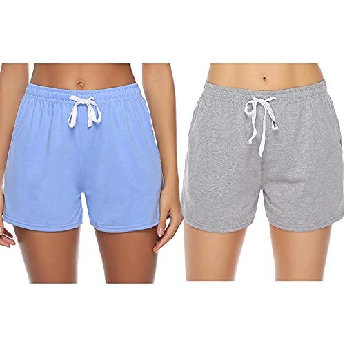 Sykooria Pantaloncini Donna Estivi 100% Cotone Shorts Sportivi a Vita Alta Morbido Tinta Unita e a Righe Pantaloni di Pigiama Corti Casual, Perfetti per Dormire Yoga dello Sport