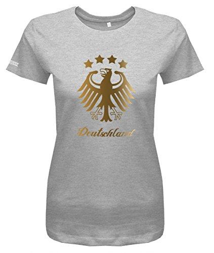 WM 2018 Deutschland Adler - 4 Sterne Gold - Damen T-Shirt in Grau Meliert by Jayess Gr. XS