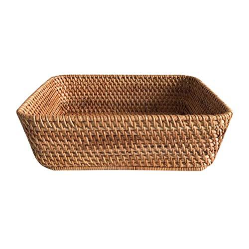 Tejido a mano el cuadrado de la cesta del almacenaje multifuncional Rattan cesta de frutas cesta del pan, puede almacenar Snacks, libros, control remoto, artículos pequeños, Cosméticos ( tamaño : L )