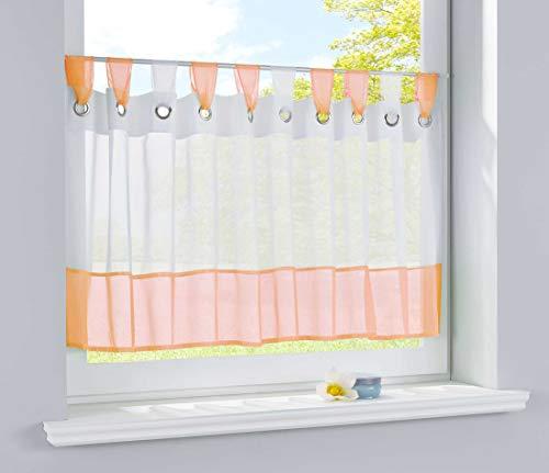 Scheibengardine Voile Gardine Ösen mit Bordüre Vorhang Küche Gardinenstange, 50x160 (HxB), Orange, 610710
