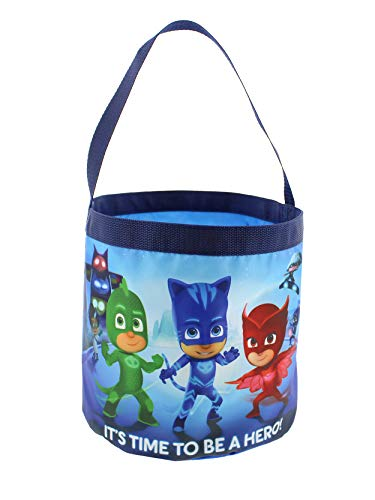 PJ Masks Boys Girls Collapsible Nylon Gift Basket Bucket Toy Storage Gift Tote Bag (One Size, Blue)