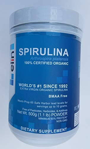 Elin Spirulina Powder Dietary Supplement – Certified USDA Organic – Purity and Nutrient Density – Non-GMO, BMAA Free (500 Grams)