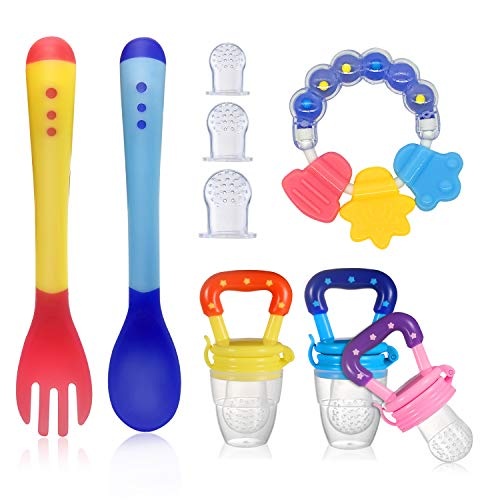 ShengRuHai Ciuccio per Frutta, Massaggia Gengive con cucchiai da latte per bambini Include i Sacchetti in Silicone di 3 le Taglie (S, M, L),2 Cucchiai da Latte per Bambini (9 Pezzi in totale)