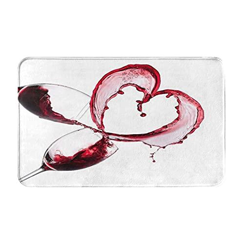 Dachangtui Alfombras de baño para decoración de Habitaciones, corazón de Vino Tinto sobre Fondo Blanco, Alfombrillas duraderas y Suaves con Antideslizante