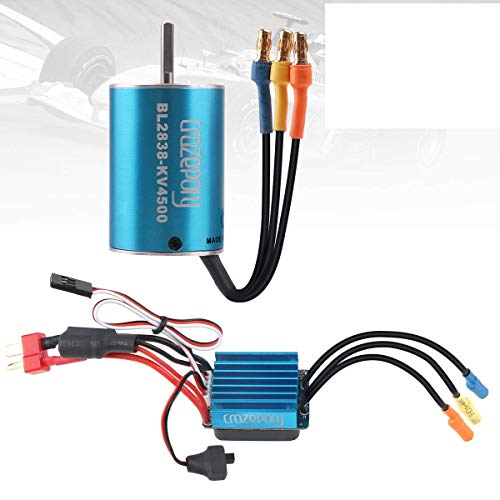 Crazepony-UK RC Brushless Motor 2838 4500KV Sensorless Splashproof with 35A ESC Electronic Speed Controller Combo for 1:12 1:14 RC Racing Car Only 2S Lipo