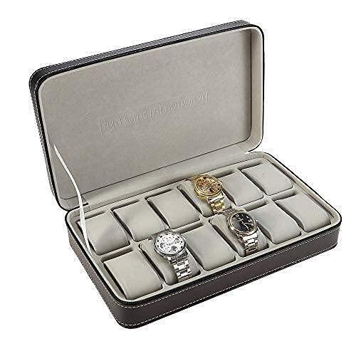 HCYY Caja de presentación de 12 Puestos con Cremallera, joyero de Viaje portátil, Caja de Almacenamiento de Reloj con Soporte para Almohada, para Mujeres, niñas, señoras
