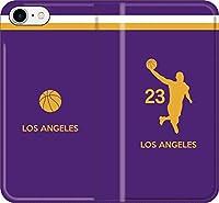 【全機種対応】 iPhone スマホケース バスケ(アウェイ ロサンゼルス 23番 B)レブロン ジェームズ レイカーズ 07 iPhone8