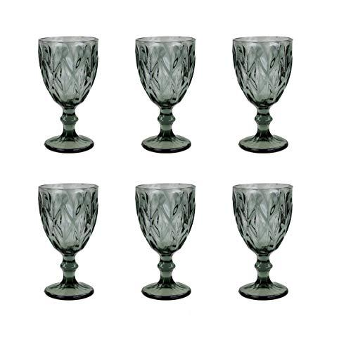 Vintage 6 Teile Set Rombus König Weinglas Glas Gläser Weingläser Wasserglas Longdrinkglas (grau schwarz)