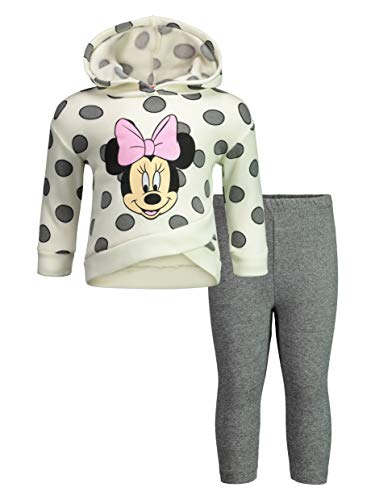 Disney Minnie Mouse Baby Girls' 2-Piece Fleece Ruffle Hoodie & Legging Set, Off-White 18 Months