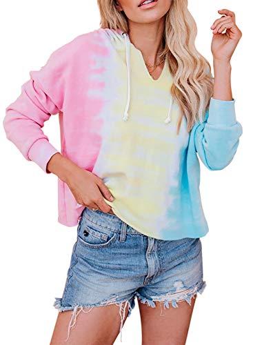 CORAFRITZ Mujer Casual Sudadera con Capucha Pullover Top Color Block Tie Dye Drawstring Manga Larga Outwear