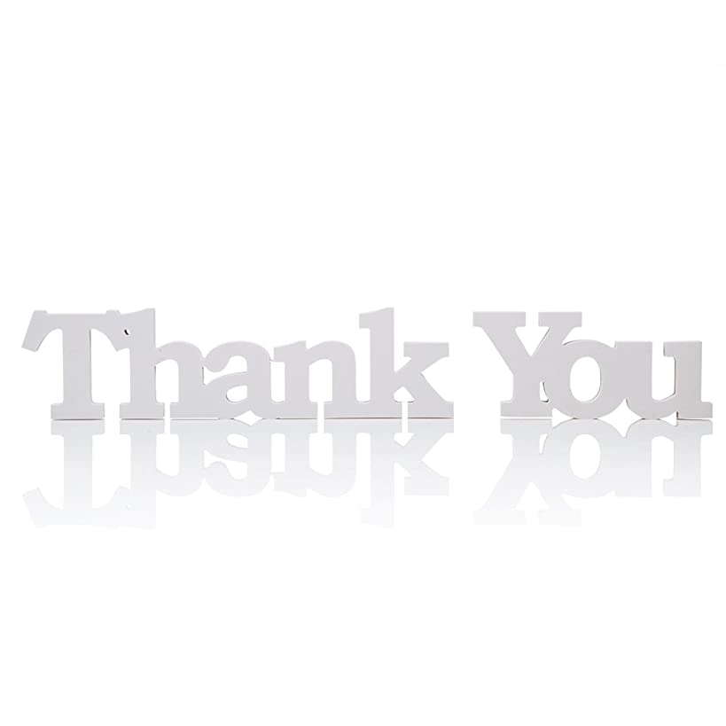 MOWO Wooden Letter Thank You, Table Toppers Decorative Sign Party Favors (White,1 Set)