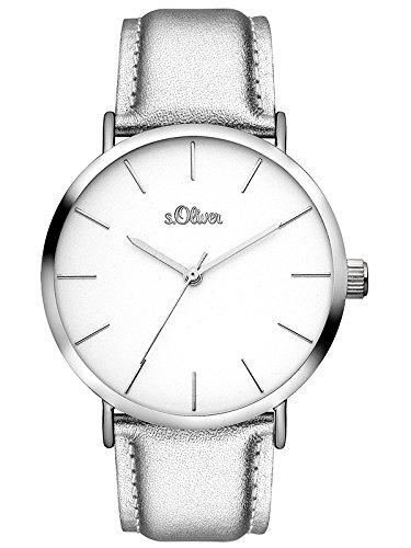 s.Oliver Damen Analog Quarz Uhr mit Leder Armband SO-3509-LQ